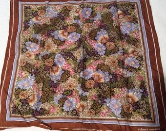 Vintage Robert Vernet Super-Soft Multi-colored Floral Handkerchief