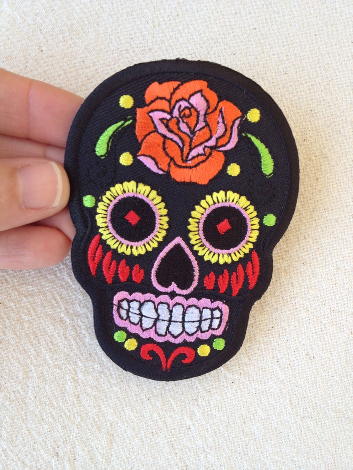 Iron-On Sugar Skull Patch: BLACK by AndamanArts on Etsy