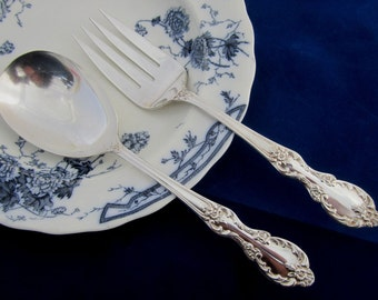 Vintage Grand Elegance aka Southern Manor Serving Fork & Spoon Silverplate ca. 1959 by Wm. Rogers