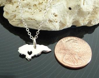 Tiny Sterling Silver Honduras Necklace / Custom Heart / Small Honduras Necklace / Love Honduras / Country Necklace
