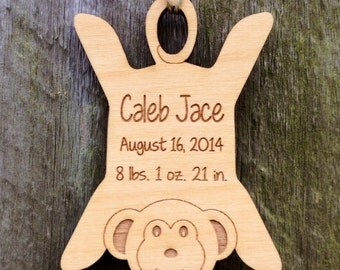 Mommy's Little Monkey Ornament: Personalized Baby Ornament/Baby Birth Info Keepsake/Personalized Birth Stats Gift/Baby's First Christmas