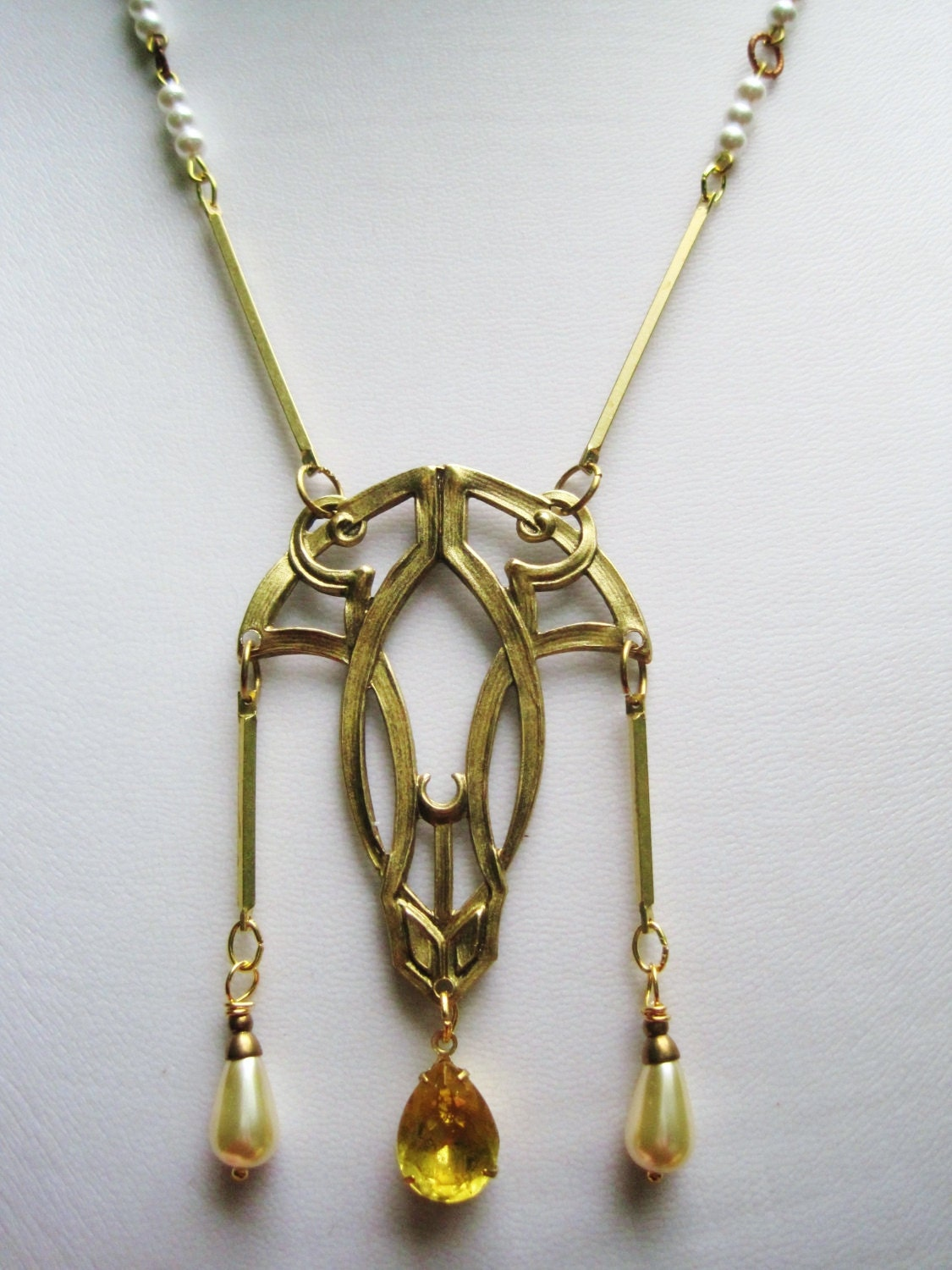 Art Deco Necklace 1920s Vintage Style Art Nouveau Statement