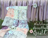 WEDDING QUILT // Guest Book // Rag QuiLT // YOU Choose Colors, Fabrics, Style // Custom, Handmade, Guestbook Alternative // Complete Quilt
