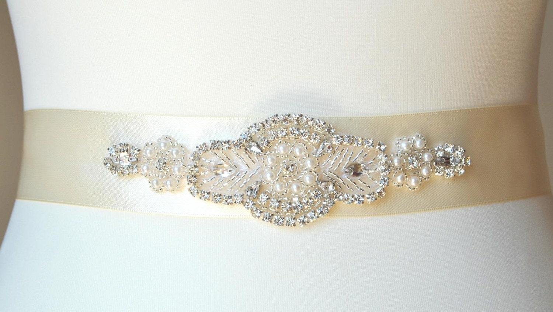 Rhinestone sash pearls rhinestones bridal sash wedding dress for Pearl belt for wedding dress