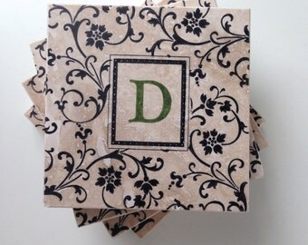 Damask Monogram Coasters, Personalized Coasters, Monogram Wedding Gift, Housewarming Gift, Floral Wedding Gift