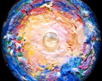 Moon-Glow encaustic painting on cedar wood round slice