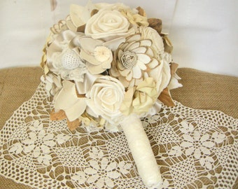 Bridal Bouquet  with lace and sola flowers , Wedding Bouquet