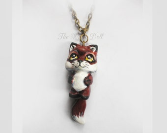 fox portrait -  polymer clay - handmade - 3D
