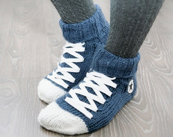 Hand Knit Converse socks, Blue Handmade Warm Socks, Hipster Clothing, Blue Accessories