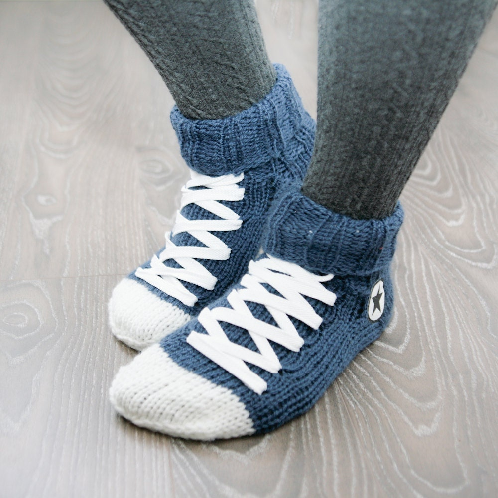 Knitting Pattern For Converse Socks : Hand Knit Converse socks Blue Handmade Warm Socks Hipster