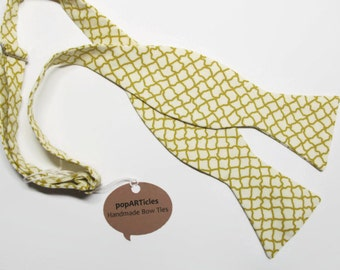 Freestyle Mustard Bow Tie - Plaid Bow Tie - Self-Tie Bow Tie - Tan Bow Tie - Gold Bow Tie