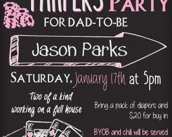 New Dad Poker and Pampers party invitation- DIGITAL COPY