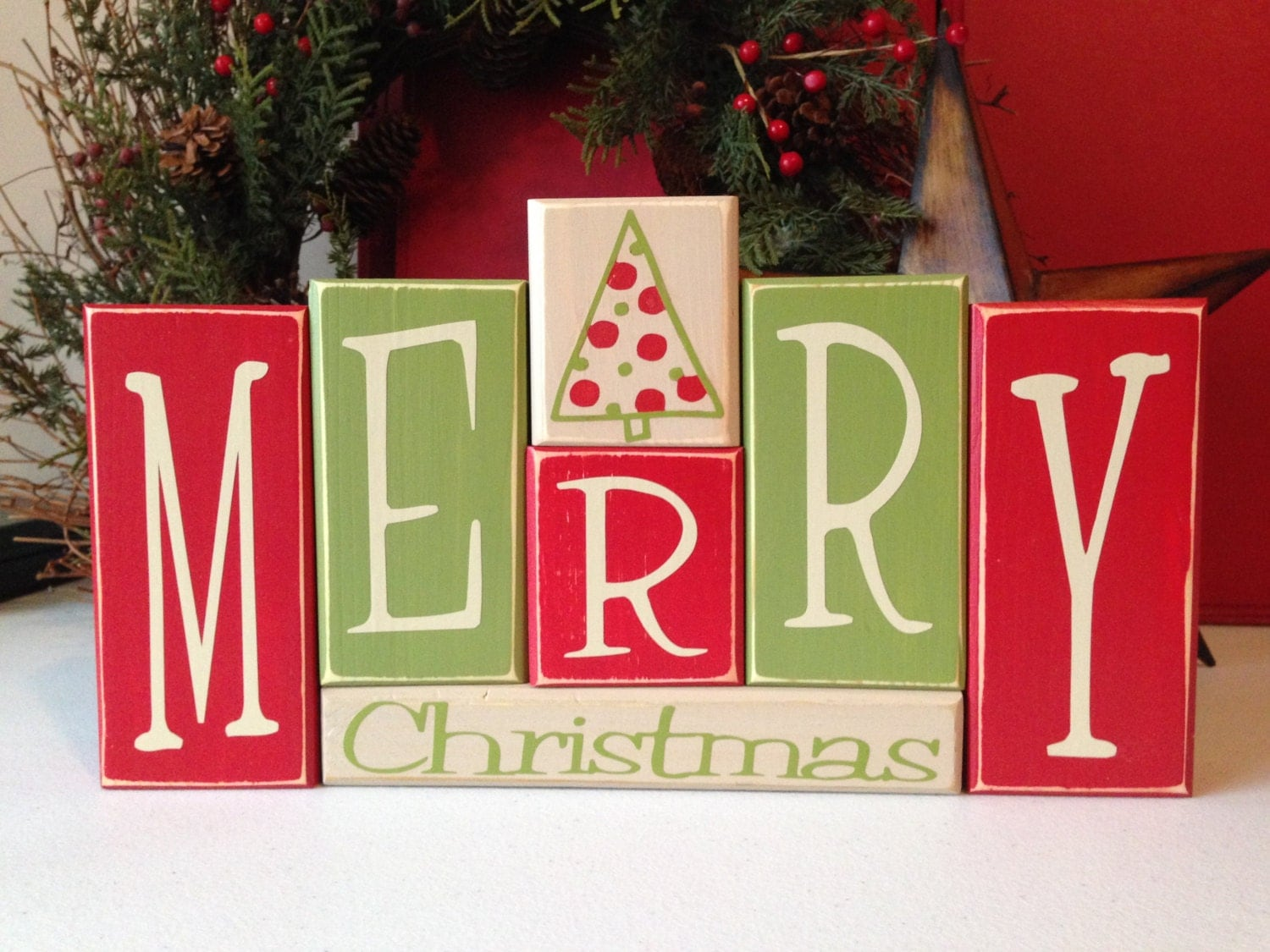 Merry Christmas Wood Blocks Sign By Fillintheblankspaces