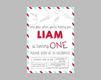 Paper Airplane Birthday Party Invitation- Paper Airplanes Party Invite- Paper Airplanes Party Invitation- Paper Airplanes Invitation