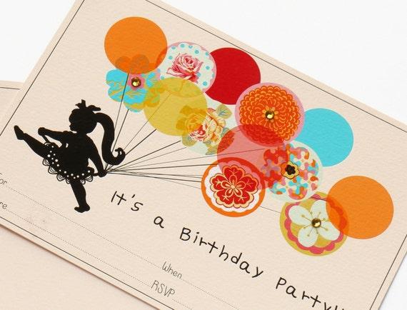 Digtial Birthday Invitation. Fill-In Invitation Set. Running With Balloons