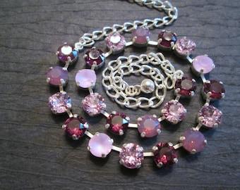 Purple Crystal Bridesmaid Jewelry/Swarovski Necklace/ Crystal Necklace/Amethyst Crystal Necklace/Crystal Tennis Necklace/Bridesmaid Necklace