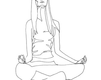 Yoga Line Drawing of a Woman Meditating