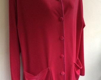 Medium lounging pyjamas,red velour,Bust 38/40 inches 97/101cm