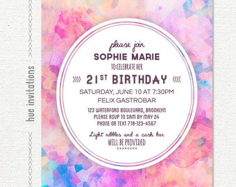 watercolor geometric 21st birthday party invitation, modern pastel shabby invite, womens birthday party printable, 5x7 jpg or pdf 657
