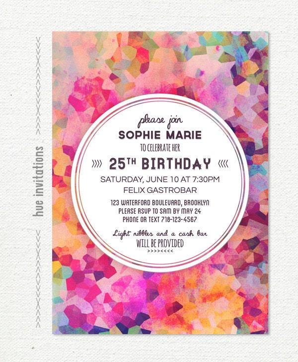 Geometric 25th Birthday Party Invitation Adult Birthday
