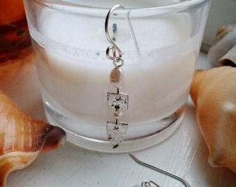 Sterling Silver Cream Fresh Water Pearls Drop Dangle Earrings Art Clay