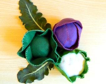 Felt cabbages -  felt vegetables: cauliflower, savoy cabbage, purple cabbage - set of 3