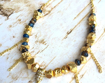 Handmade Boho Necklace, gold nugget, Tribal, Blue, Beaded, Sexy, Celebrity, Pretty, Unique, Warrior, Jasper (Dripping Sexy Necklace 2)