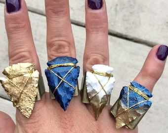 Handmade Tribal Ring, Hand Painted Arrowhead, Boho, Festival, Flint, Gold, Native, Unique, Celebrity (Pointing the Way Ring)