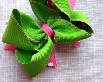 Pink and Green Hairbow - ready to ship