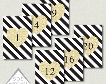 Wedding Table Numbers, Reception Table Numbers, Black white and gold Wedding, Printable Table Numbers, Number Cards, Table #s, PDF, JPEG