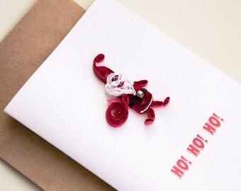 Christmas Card - Santa Claus Card - Ho Ho Ho Card -  Quilling Christmas Card - Holiday Card