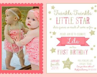 Twinkle Twinkle Invitation // Pink & Gold // Photo {PRINTABLE - 5x7 invitation}