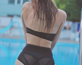 High Waisted Bikini Bottoms, Sheer Panties, High Waist Lingerie, Luxury Lingerie, High Waist Knickers, Black Panties, Sexy Lingerie