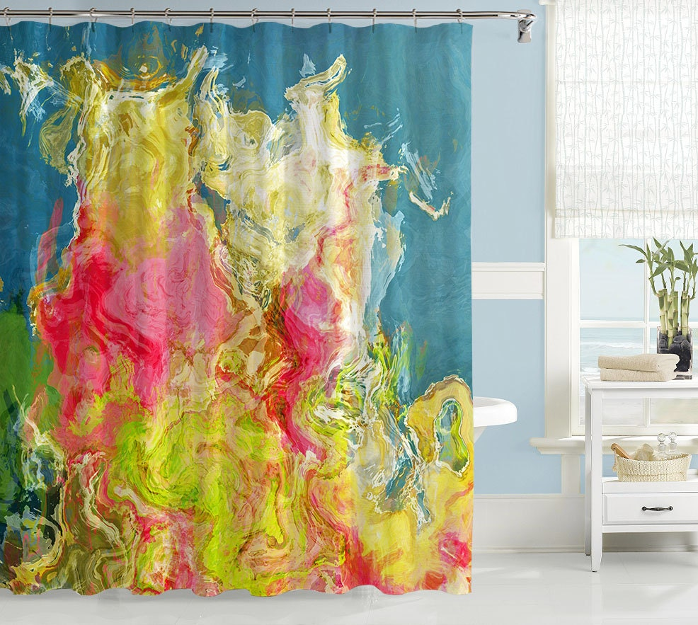 abstract shower curtain contemporary bathroom decor by