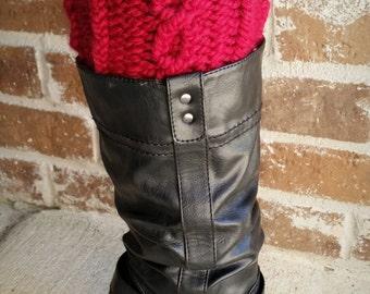 Red Knit Boot Cuffs