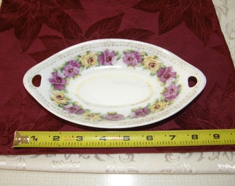 Antique Zeh Scherzer Z.S. & Co. Bavaria Porcelain 2 Handled Purple Floral Dish
