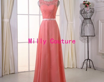 evening dress prom,coral lace bridesmaid dress, lace evening dress,bridesmaid dress long chiffon,lace prom dress, custom color