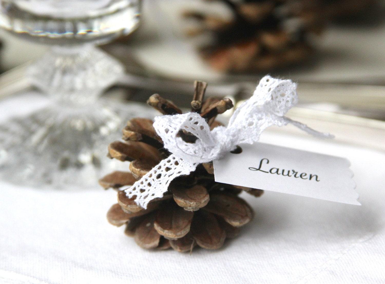 D coration table table automne hiver baby shower d coration - Marque place pomme de pin ...