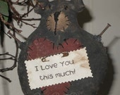 Bear Valentine Holiday handmade Primitive  doll ornament