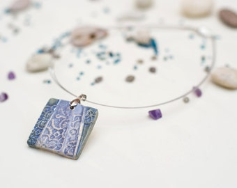 Blue square necklace, patterned ceramic pendant, artistic jewelry, gift for her