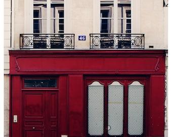 Paris, Photographic Print. Burgundy red building in the Marais in Paris.