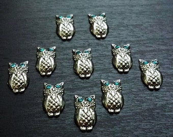 Owl Floating Charm for Floating Lockets-Blue Crystal Eyes-Gift Idea