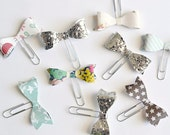 Glitter and Floral Print Bow Paper Clips