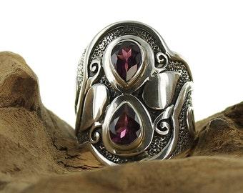 Garnet silver ring. Size 7.75. Natural stone
