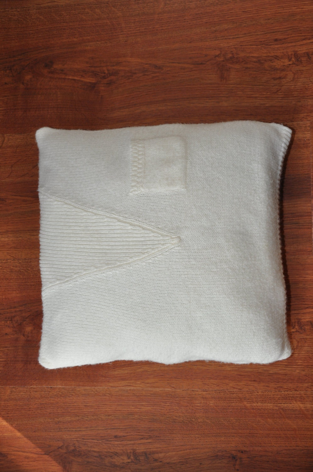 Decorative Pillows Ivory : 22in ivory throw pillow / ribbed knit decorative pillow