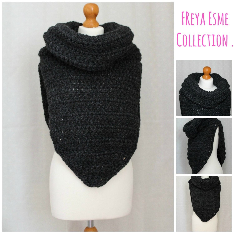 Crochet Poncho Cowl: Crochet pattern cowl poncho adult teenager ...