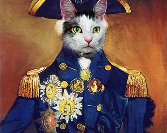 Lord Nelson - Custom Pet Portraits - Dog Portraits and Cat Portraits - Digital personalized pet portrait painting using your Photo