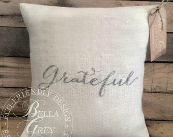Grateful Burlap Pillow Cover - Thanksgiving Decor - Fall Pillow - Rustic Fall Decor - Hostess Gift - Housewarming Gift