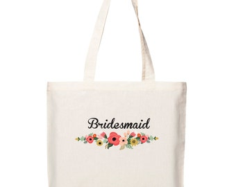 Bridal Party Canvas Tote Bag - Gorgeous Floral and Bunting designs