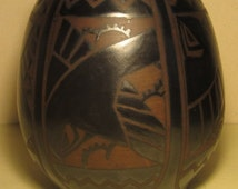 Antique art deco ceramic GRES  vase Charles Catteau Boch Keramis geometric birds